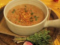 Chestnut Soup with Migas