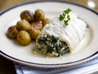 Cod Croisettes with Baked New Potatoes