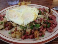 Corned Beef and Bacon Hash with Fried Egg