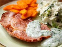 Gammon Steaks with Cabbage Mash Recipe