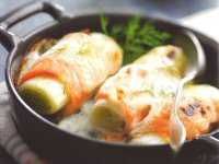Leek and Smoked Salmon Rolls