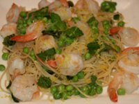 Prawn and Peas on Capellini