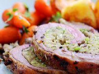 Roast Breast of Lamb with Leek and Chestnut Stuffing