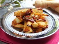 Roast Parsnips with Cheese and Bacon